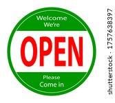 welcome we're open vector text...   Shutterstock .eps vector #1757638397