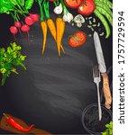 chalk vegetables and kitchen...   Shutterstock . vector #1757729594