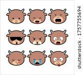 cute chinese zodiac ox... | Shutterstock .eps vector #1757755694