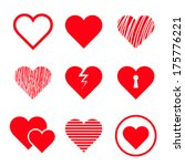 vector hearts set | Shutterstock .eps vector #175776221