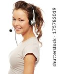 beautiful call center woman... | Shutterstock . vector #175783019