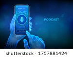 podcast. podcasting concept.... | Shutterstock .eps vector #1757881424