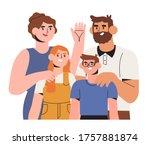 happy smiling family members... | Shutterstock .eps vector #1757881874