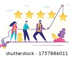 people use rope and raise star. ... | Shutterstock .eps vector #1757886011