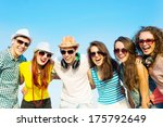 group of young people wearing... | Shutterstock . vector #175792649