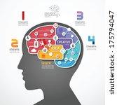 Stock vector infographic template brain social line link concept vector illustration 175794047