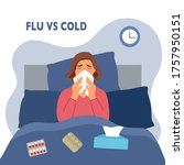 woman suffering from flu in bed ... | Shutterstock .eps vector #1757950151