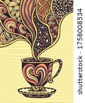 cup of coffee or tea in zen...   Shutterstock .eps vector #1758008534