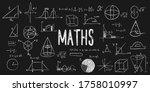 maths doodle with formulas ... | Shutterstock .eps vector #1758010997