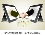 money and two computer tablet... | Shutterstock .eps vector #175802087