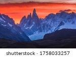 Sunset mountain peaks snow landscape. Mountain peak snow sunset view. Sunset mountain peak snow panorama