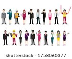 group of airport crew poses and ... | Shutterstock .eps vector #1758060377