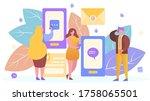 people in internet mobile... | Shutterstock .eps vector #1758065501