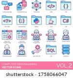 computer programming icons...   Shutterstock .eps vector #1758066047