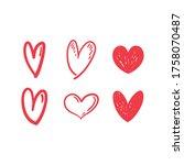 heart doodles set. collection... | Shutterstock .eps vector #1758070487