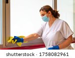 Woman Disinfecting Hospital...