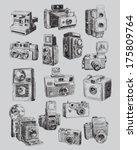 sketchy vintage camera set | Shutterstock .eps vector #175809764