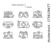 online conference icons set... | Shutterstock .eps vector #1758138677