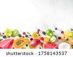 assorted different summer... | Shutterstock . vector #1758143537