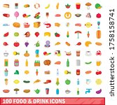 100 food and drink icons set in ... | Shutterstock .eps vector #1758158741