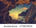 vintage sea sunset from the... | Shutterstock . vector #175819034
