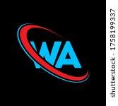 WA W A letter logo design. Initial letter WA linked circle uppercase monogram logo red and blue. WA logo, W A  design. wa, w a