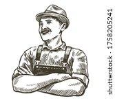 Hand Drawn Sketch Happy Farmer. ...