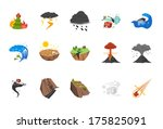 a set of natural disaster icons ... | Shutterstock .eps vector #175825091