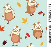 seamless pattern with chipmunks ... | Shutterstock .eps vector #1758291491