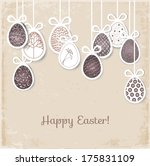 Easter card with eggs on vintage background. Vector illustration