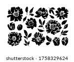 roses  peonies  chrysanthemums... | Shutterstock .eps vector #1758329624
