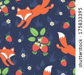 cute foxes and wild... | Shutterstock .eps vector #175833395