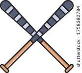 baseball vector flat color icon