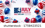 4th of july sale poster... | Shutterstock .eps vector #1758423521