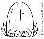 scary  creepy grave in a... | Shutterstock .eps vector #1758425474