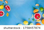 citrus food flat lay border... | Shutterstock . vector #1758457874