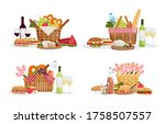set with picnic baskets full of ... | Shutterstock .eps vector #1758507557