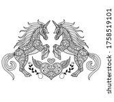 unicorn love. zentangle... | Shutterstock .eps vector #1758519101