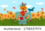 Scarecrow In Front Of Sunflower ...