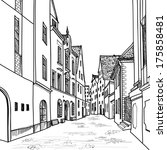 old street. pedestrian street.... | Shutterstock .eps vector #175858481