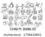 set of doodle covid 19 hand... | Shutterstock .eps vector #1758610841