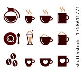 coffee vector color icons set   ... | Shutterstock .eps vector #1758611771
