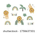 set of cute lion clip art. use... | Shutterstock .eps vector #1758637331