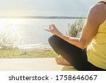 senior woman making yoga near...   Shutterstock . vector #1758646067