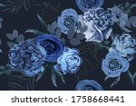 floral seamless pattern with... | Shutterstock .eps vector #1758668441