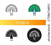 Peacock Icon. Indian Peafowl...