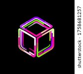 Symbol dice d6 from multi-colored circles and stripes. UFO Green, Purple, Pink