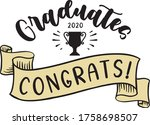 congratulations graduates 2020. ... | Shutterstock .eps vector #1758698507