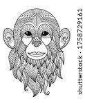 monkey doodle coloring book...   Shutterstock .eps vector #1758729161