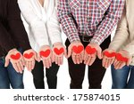 hands with hearts   isolated on ...